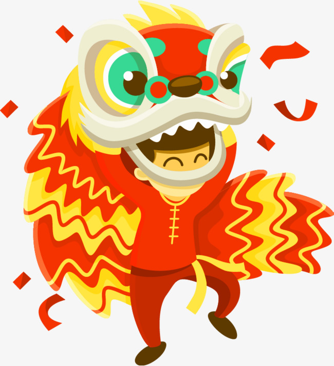 650x714 Red Chinese Wind Lion Dance Decoration Pattern, Red, Chinese Style