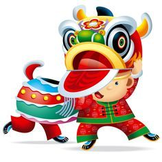 236x236 Chinese New Year Lion Dance In Cartoon
