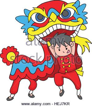 300x348 A Vector Illustration Of Chinese Boy Dancing A Lion Dance Stock