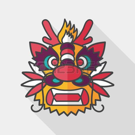 450x450 Chinese New Year Flat Icon With Long Shadow, The Dragon And Lion