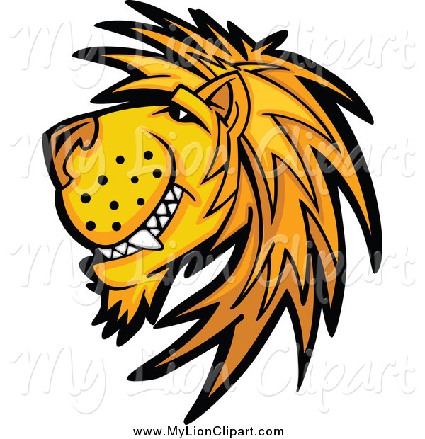 600x620 Clipart Of A Grinning Male Lion Face In Profile By Chromaco
