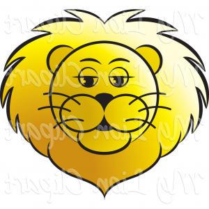 300x300 Big Cat Vector Clipart Of A Black And White Lion Head In Profile