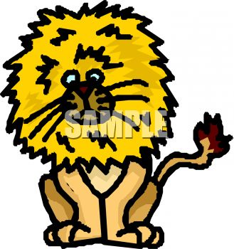 329x350 Cartoon Of A Lion With A Huge Mane