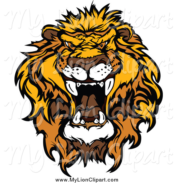 600x620 Clipart Of A Roaring African Lion Head By Chromaco