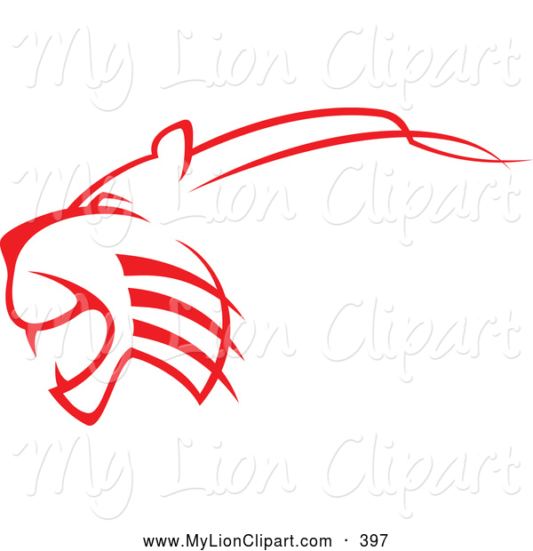 600x620 Clipart Of A Tattoo Design Of A Outlined Red Lioness Attacking By