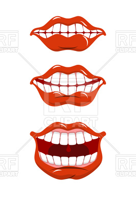 266x400 Set Of Smile Lips, Open Mouth Royalty Free Vector Clip Art Image