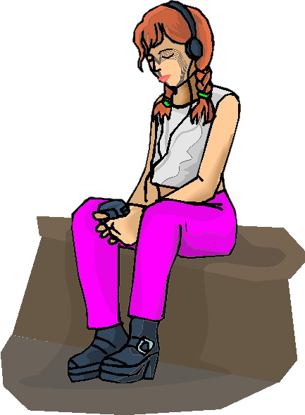 433x589 Image Of Listening To Music Clipart