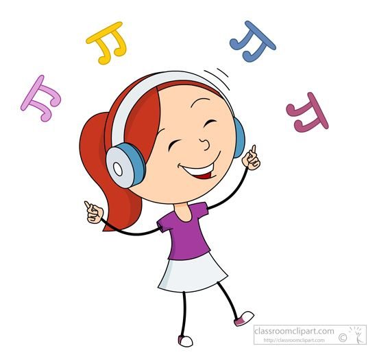 550x517 Music Girl Happy Dancing While Listening Music Clipart 197