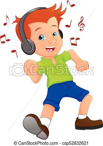 333x470 Vector Illustration Of Funny Boy Cartoon Listening Music Vector