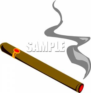 292x300 Clip Art Image A Lit Cigar
