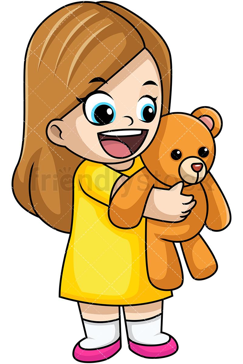 800x1200 Happy Girl Holding Teddy Bear Cartoon Vector Clipart
