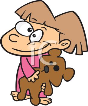291x350 Adorable Little Girl Wearing Pj's Holding Her Teddy Bear