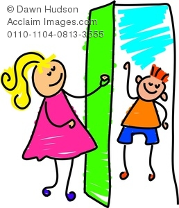 258x300 Clipart Image Of Happy Little Girlnswering The Door