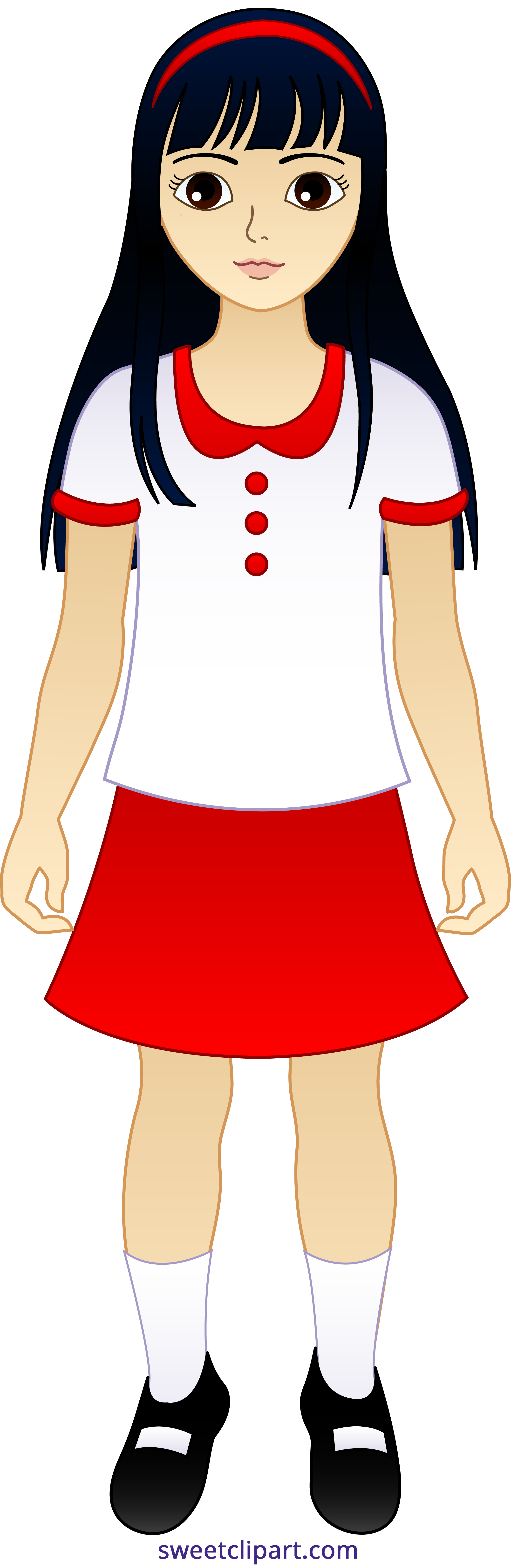 2119x6498 Little Asian Girl Clipart
