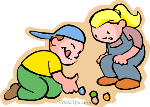 480x343 Little Boy And Girl With Marbles Royalty Free Vector Clip Art