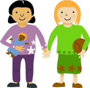 300x292 Two Little Girls Clip Art