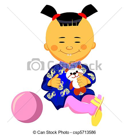 450x470 Vector Chinese Little Girl Plays With A Panda. Vector Clip Art