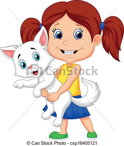 399x470 Vector Illustration Of Happy Cartoon Little Girl Hugging Her