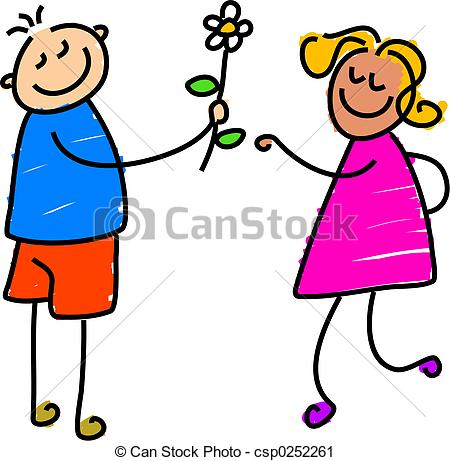 450x461 Young Love. Little Boy Giving A Flower To Little Girl Clipart