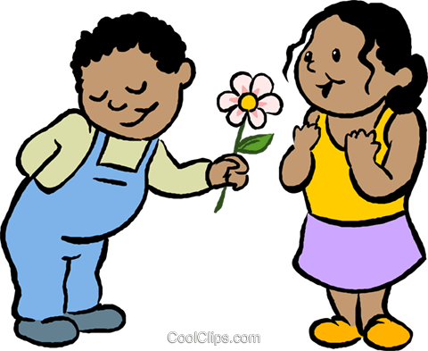 480x393 Little Boy Giving A Girl A Flower Royalty Free Vector Clip Art