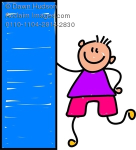 272x300 Clipart Image Of A Happy Little Boy Holding A Giant Rectangle Shape