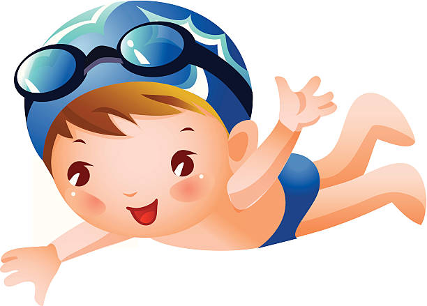612x439 Little Boy Clipart Swimming