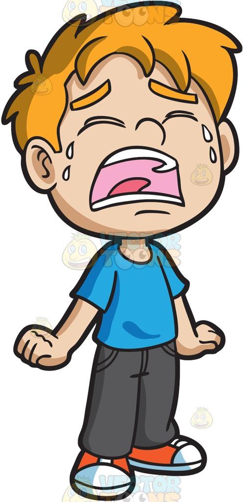 496x1024 A Crying Little Boy Cartoon Clipart Vector Toons