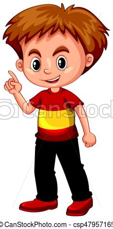 233x470 Little Boy Pointing His Finger Up Illustration Clip Art Vector