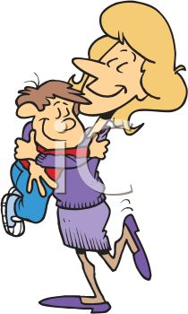210x350 Royalty Free Clip Art Image Cartoon Of A Mom Hugging Her Little Boy