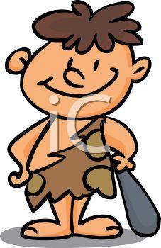 227x350 Cartoon Of A Little Boy Dressed Up Like A Caveman