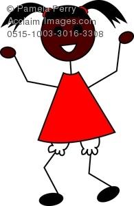 195x300 Clip Art Image Of A Cartoon Little Black Girl