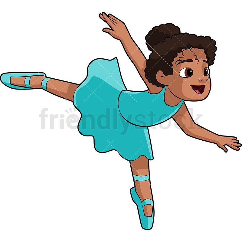 800x800 Black Little Girl Ballet Dancer Cartoon Vector Clipart