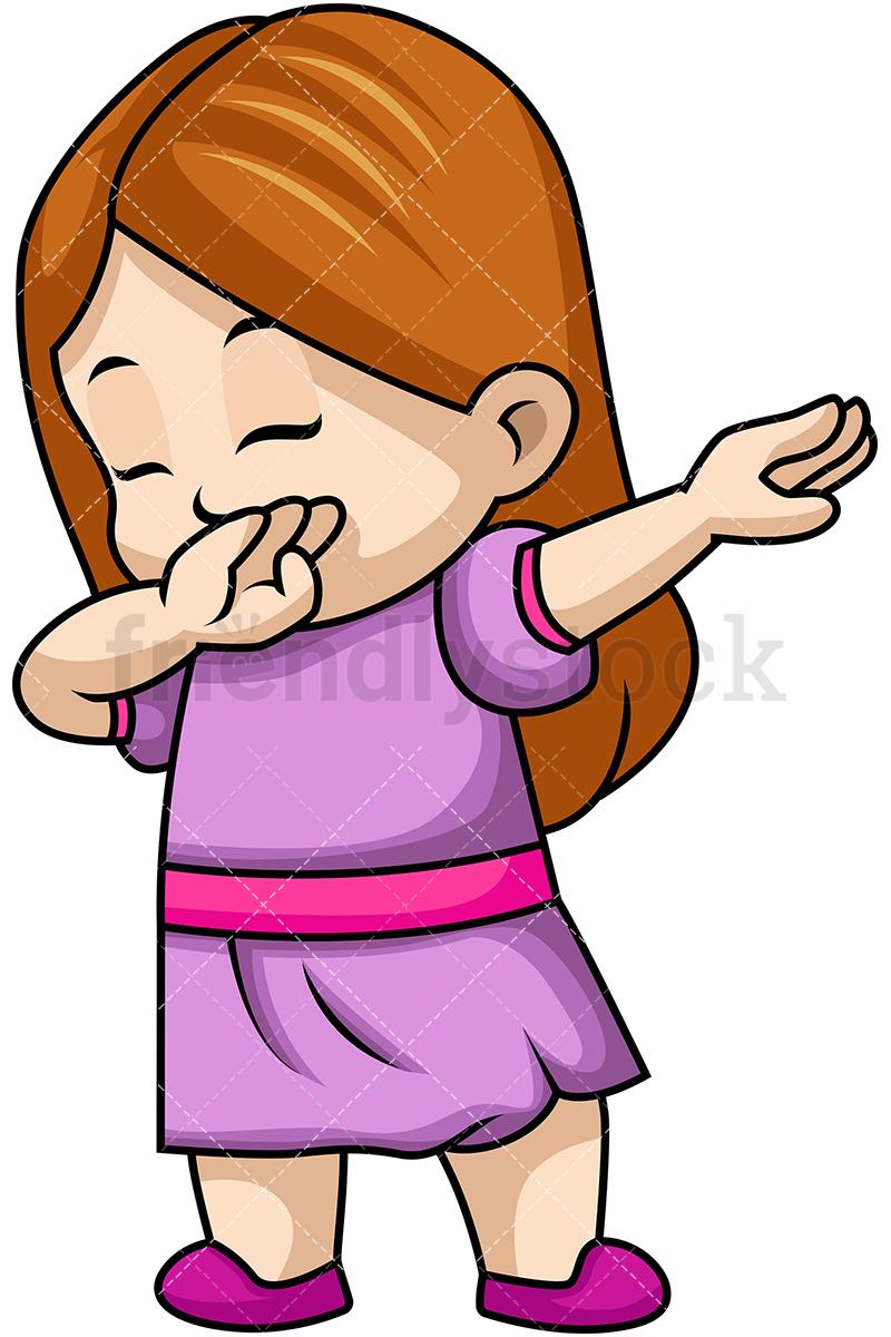 800x1200 Dabbing Little Girl Cartoon Vector Clipart