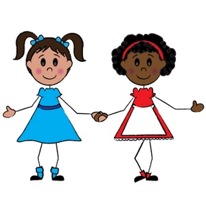 300x300 Girl Images Clip Art Two Little Girl Friends One Black And One