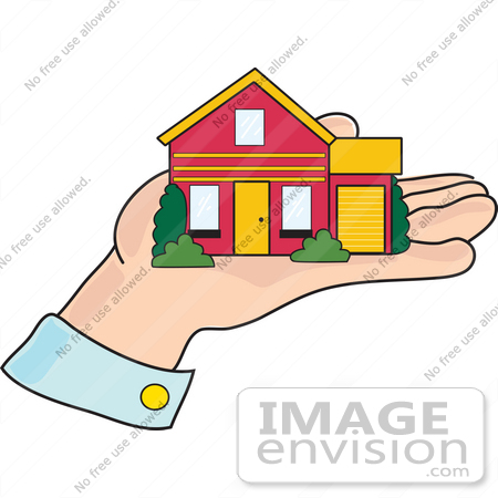 450x450 Clip Art Graphic Of A Little House In A Man's Hand