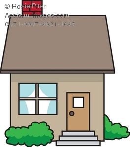 264x300 Clip Art Illustration Of A Little House With Shrubs Out Front
