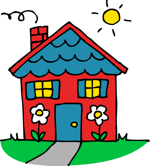 495x550 Cute Red And Blue House Clipart Red Houses