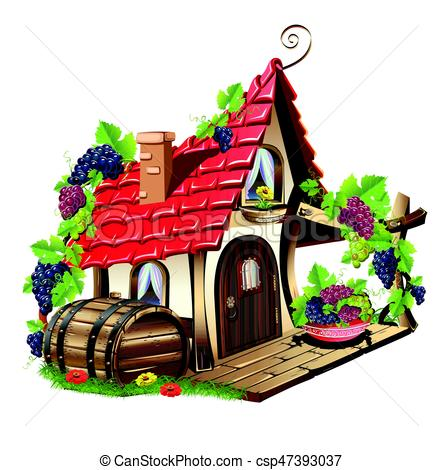 443x470 Little Fairy House. Fabulous Home With Grapes And Barrel