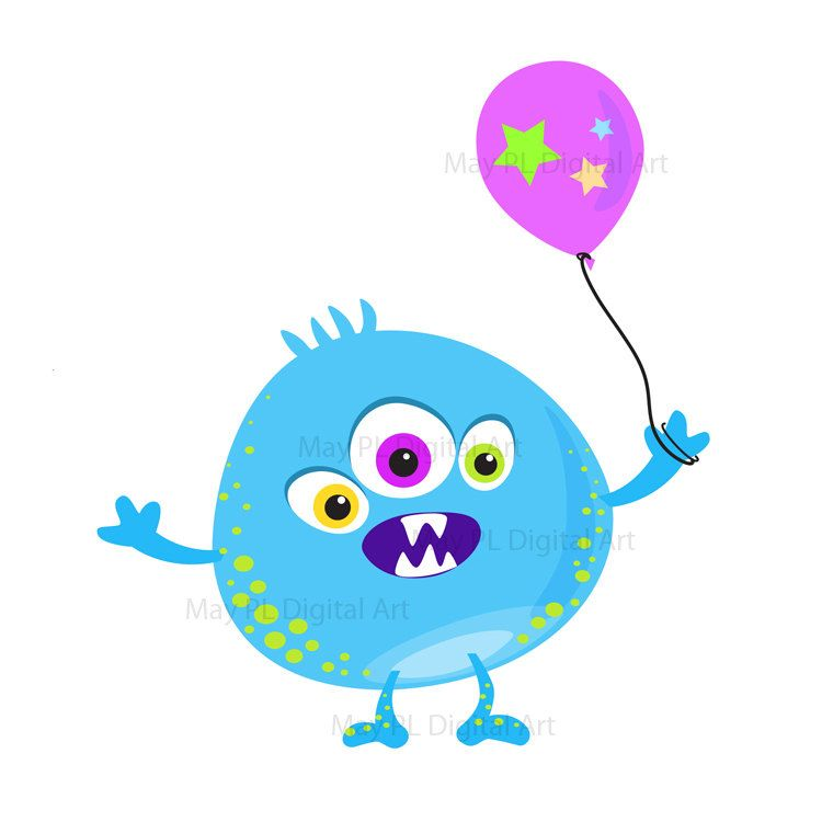 750x750 Cute Monster Clipart Clip Art Kids Birthday Party Digital Little
