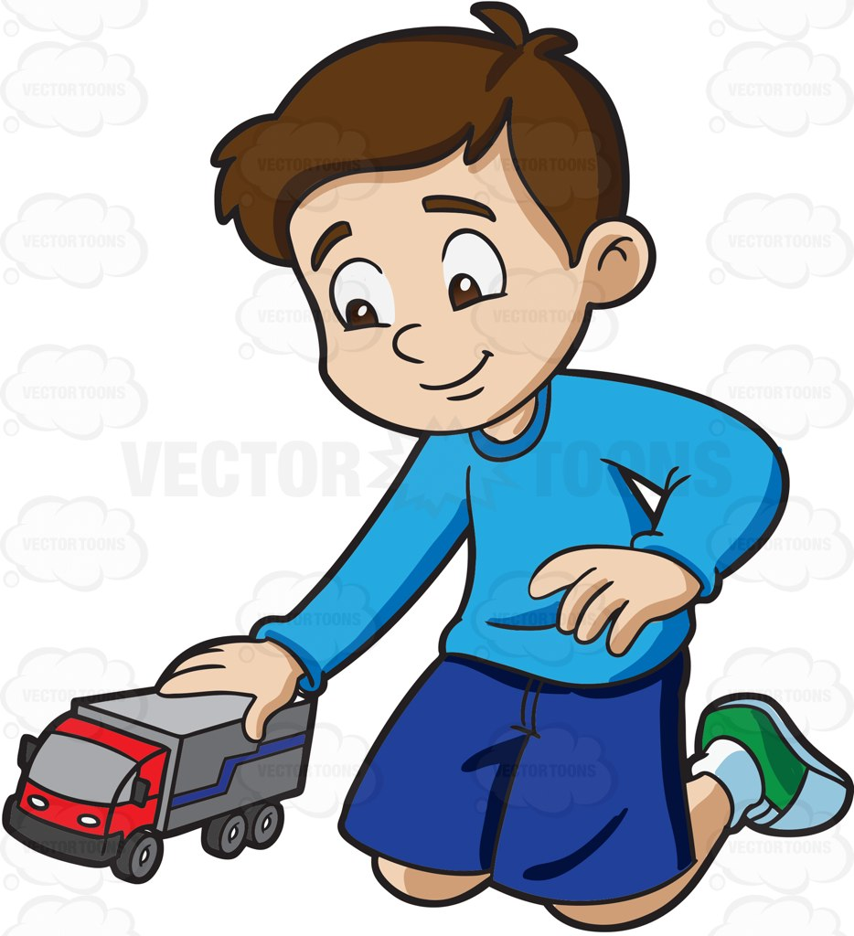 934x1024 A Young Boy Playing With His Toy Truck Cartoon Clipart Vector Toons