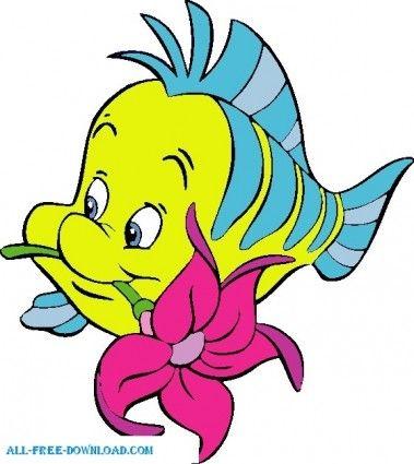379x425 Clipart Of Mermaids Little Mermaid Flounder 002 Vector Cartoon