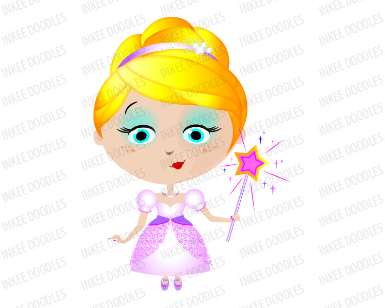 750x600 Little Girl Princess Blonde In Pink Dress Gown, Holding Star Wand