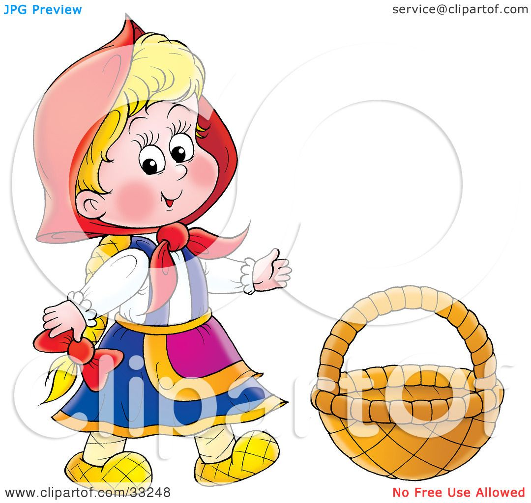 1080x1024 Clipart Illustration Of Little Red Riding Hood Wearing Her Cape