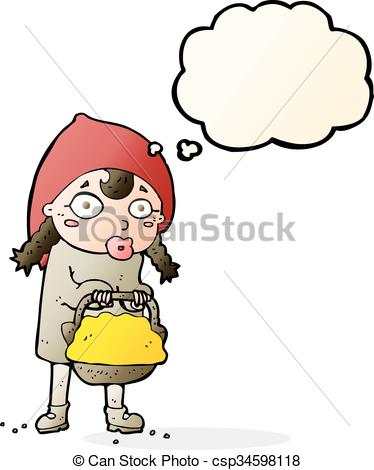 374x470 Little Red Riding Hood Cartoon With Thought Bubble Vector Clip Art
