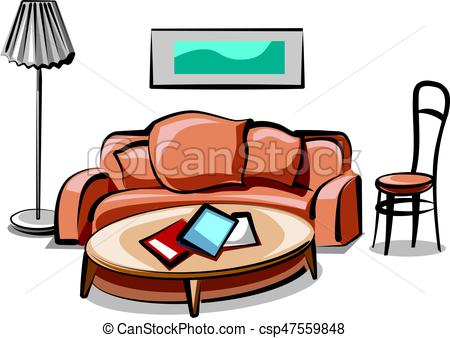 450x338 Illustration Of Modern Living Room Interior And Furniture Eps