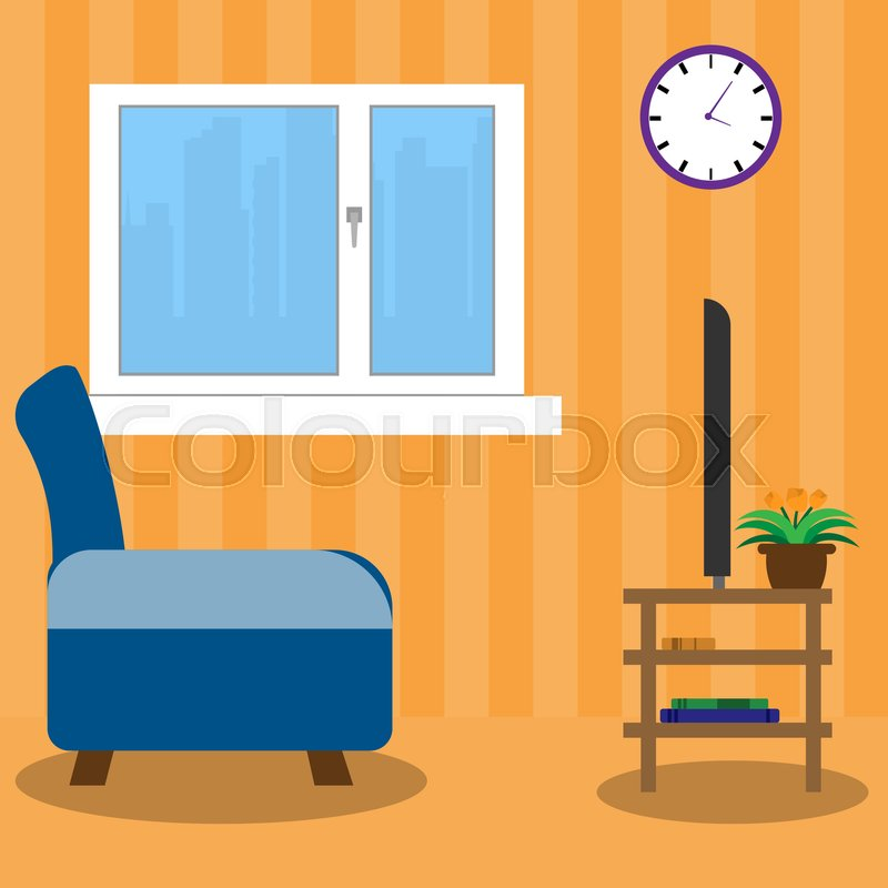 800x800 Living Room Side View Stock Vector Colourbox