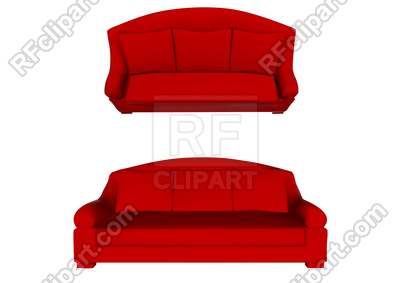 400x283 Red Sofa Top And Front View On White Background Royalty Free