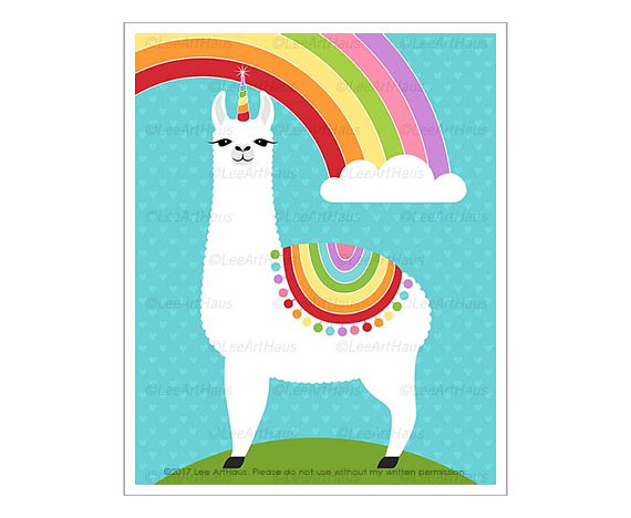 570x468 65j Rainbow Decor Llamacorn Rainbow Wall Art Rainbow Art