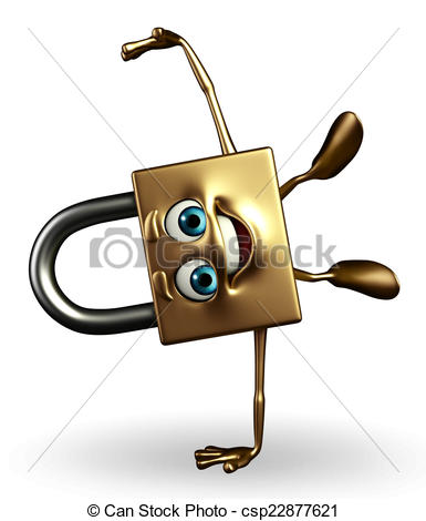 385x470 Lock Character With Happy Pose. Cartoon Character Of Lock Clip
