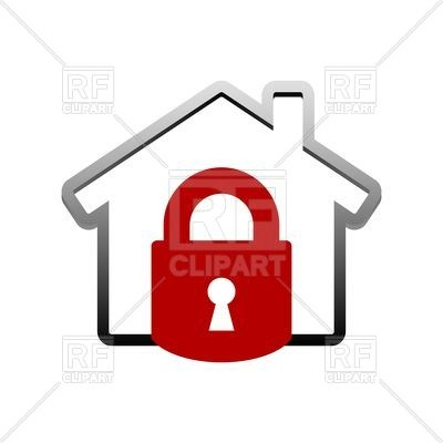400x400 Locked House Icon Royalty Free Vector Clip Art Image